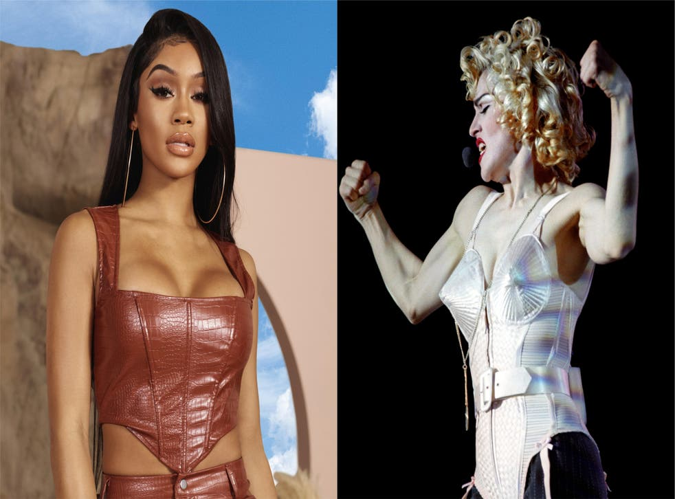 Saweetie and Madonna wearing corsets