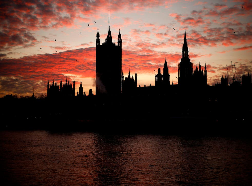 <p>The sun sets behind the Victoria Tower at the Palace of Westminster, home to the Houses of Parliament</p>