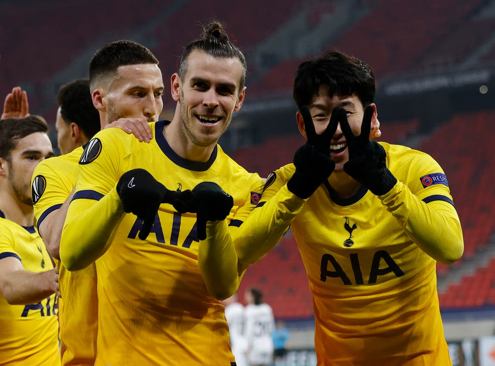 Gareth Bale and Son Heung-min celebrating a Spurs goal
