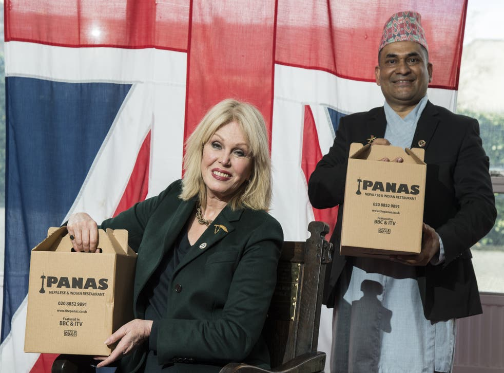 Actress Joanna Lumley with Sujan Katuwal, the owner of Nepalese restaurant Panas Gurkha in Lewisham