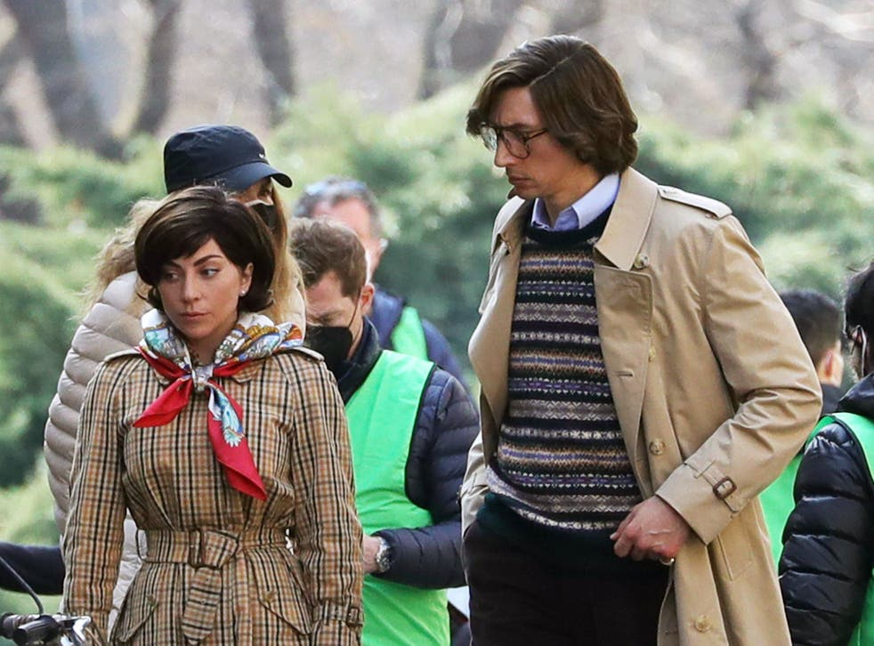 Adam Driver and Lady Gaga are seen filming 'House of Gucci' on 10 March 2021 in Milan, Italy