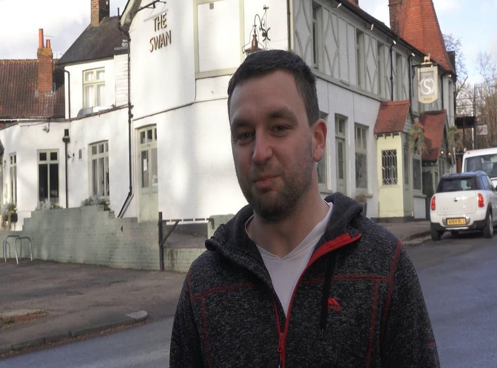 Ollie Ripley outside the Swan pub