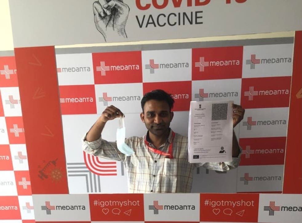 <p>Vipin Thomas, a frontline health worker, after getting his second Covid-19 vaccine shot</p>