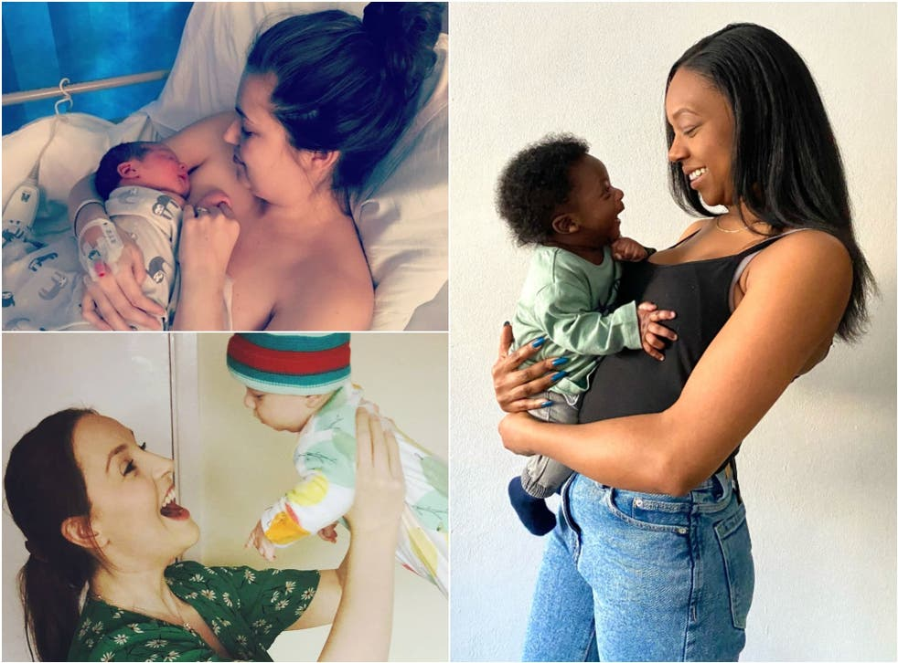 <p>Melissa Darby and Brodie, top left, Lucy Mitchell and Jasper, bottom left and Danyelle McFarlane and Treyn, right</p>