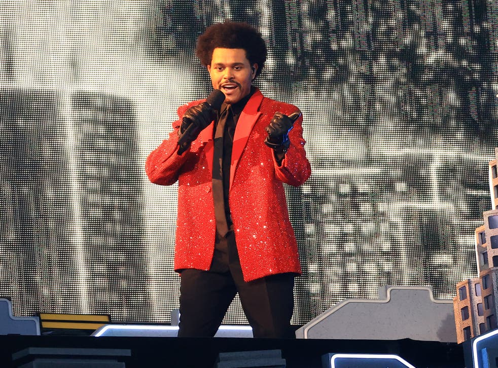 The Weeknd performs during the Super Bowl LV Halftime Show on 7 February 2021 in Tampa, Florida