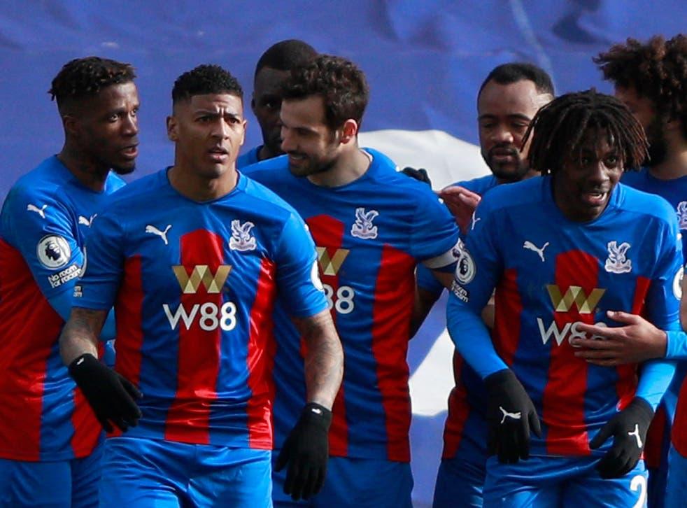 <p>Crystal Palace celebrate after Luka Milivojevic breaks the deadlock</p>
