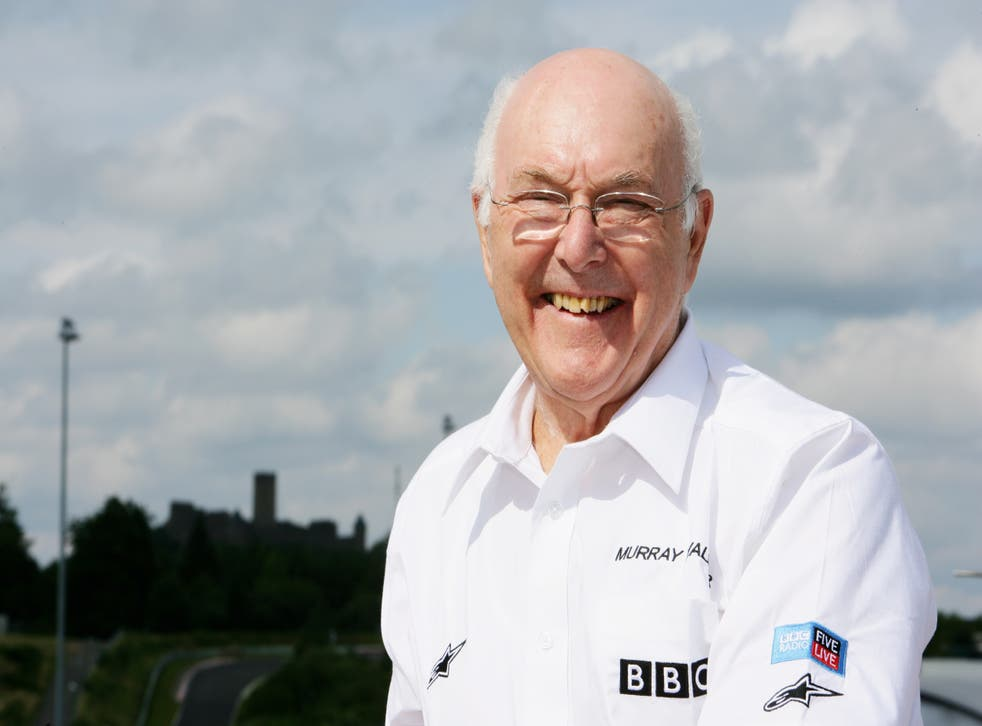 <p>Formula One commentator Murray Walker poses during practice for the European Grand Prix at Nurburgring</p>