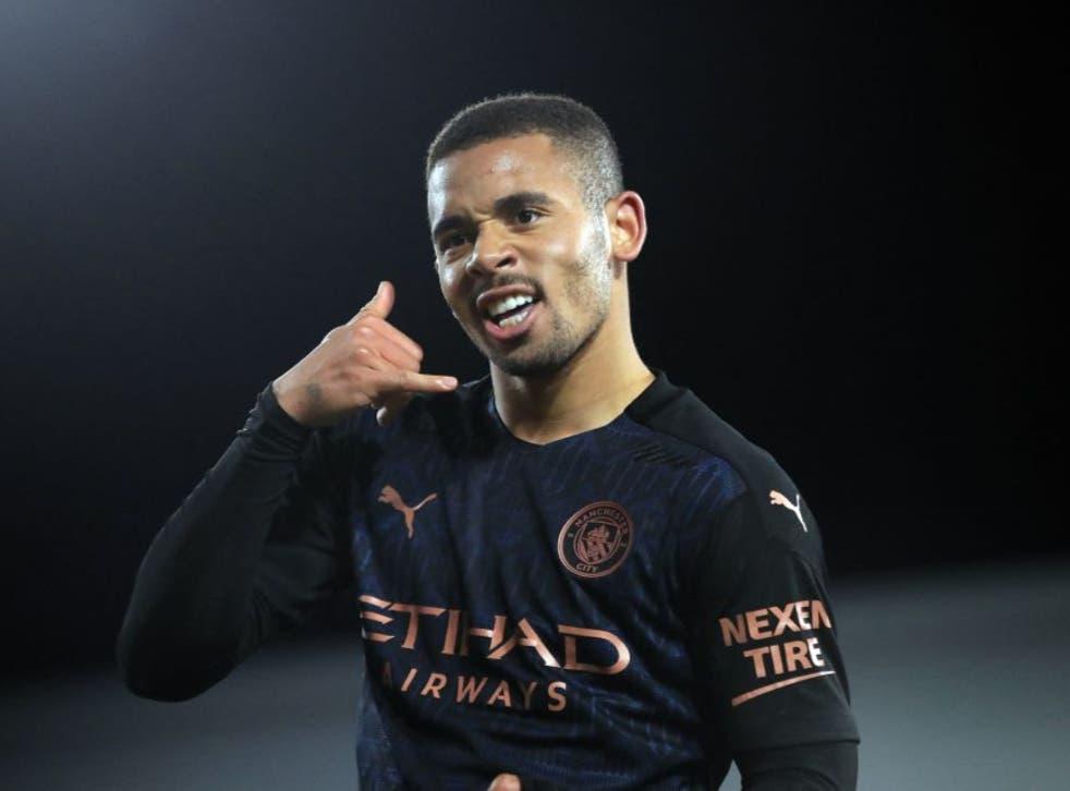 <p>Gabriel Jesus celebrates scoring for Man City</p>