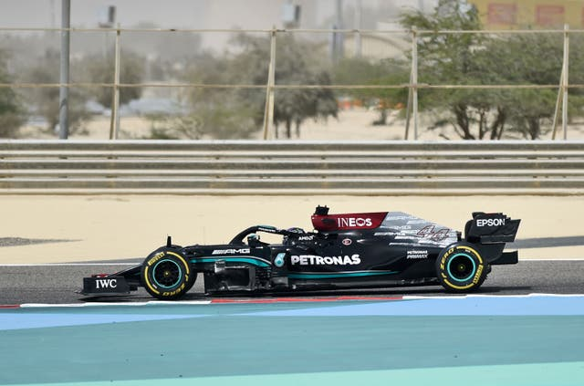 Lewis Hamilton in testing at the Bahrain International Circuit