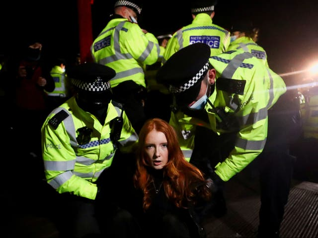 Officers have come under fire for their policing of Saturday's vigil