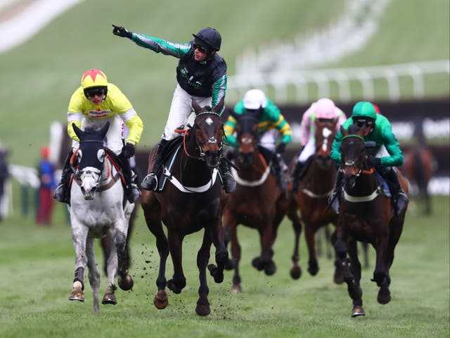 Nico de Boinville celebrates as he rides Altior to victory