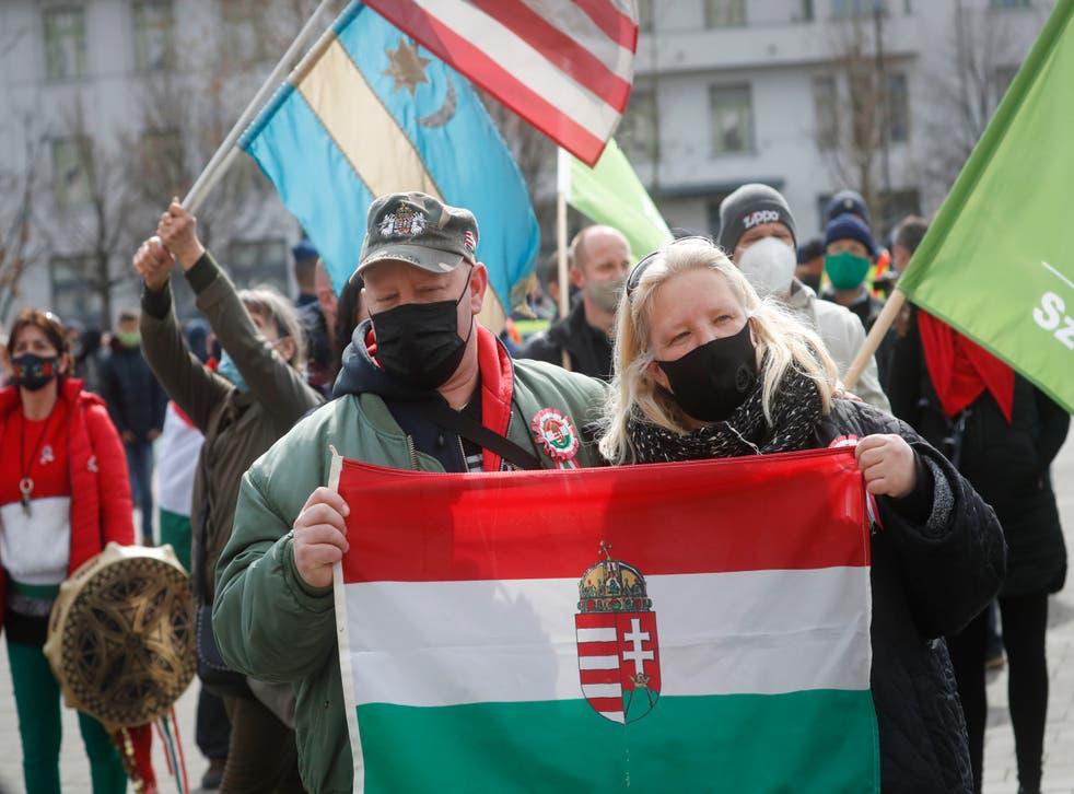Virus Outbreak Hungary Protest
