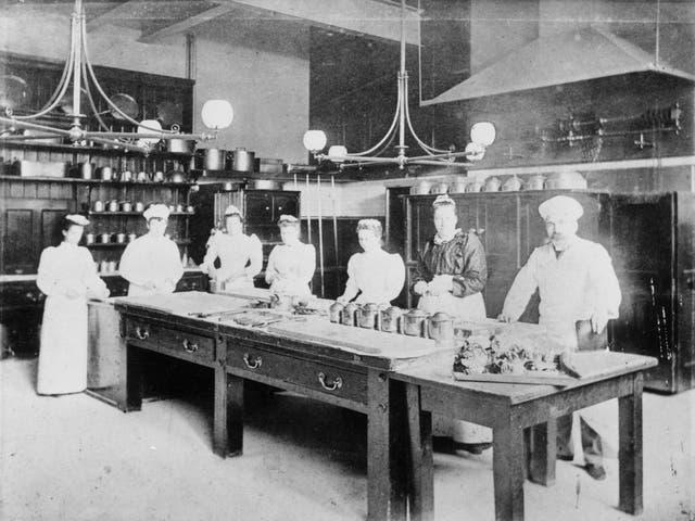 <p>Upstairs, downstairs: kitchen staff at Waddesdon in 1900</p>