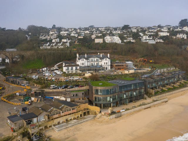 <p>The Carbis Bay Estate hotel and beach, set to be the main venue for the upcoming G7 summit, photographed by drone on 2 March 2021</p>