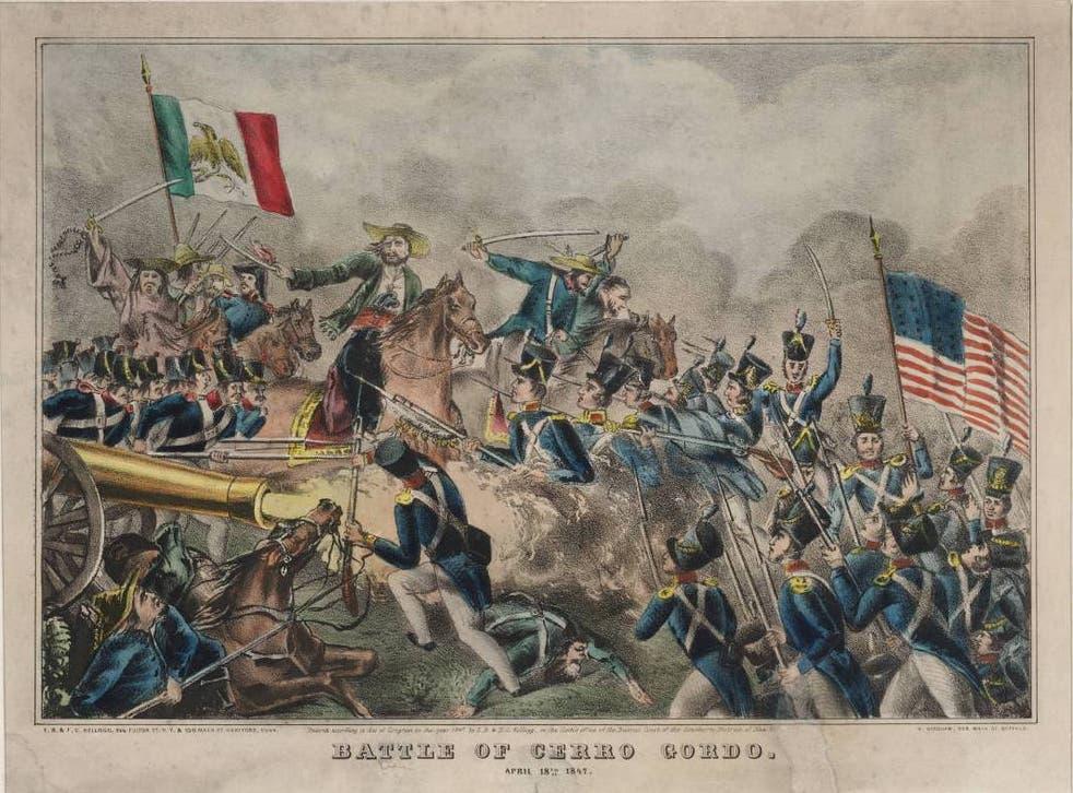 Esta litografía cortesía de la Biblioteca Beinecke de la Universidad de Yale, muestra una escena inspirada en la Batalla de Cerro Gordo de 1847.