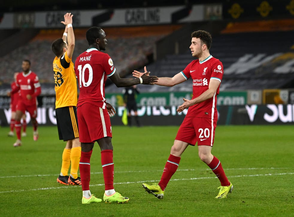 <p>Jota and Mane celebrate the  opener</p>