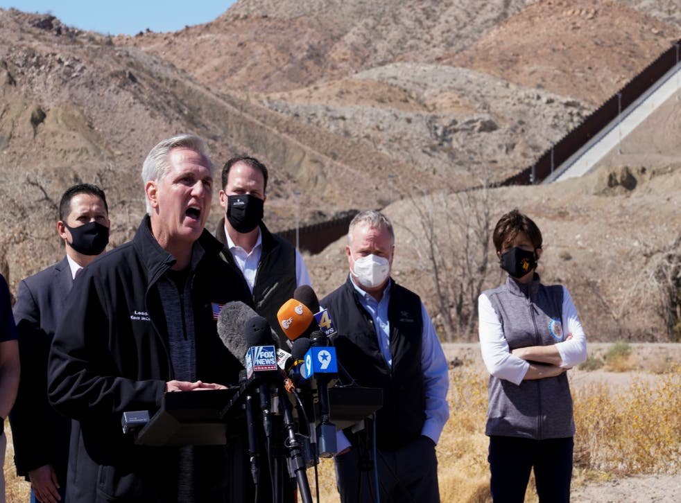 House Minority Leader Kevin McCarthy speaks to the press during a tour for a delegation of Republican lawmakers of the US-Mexico border, in El Paso