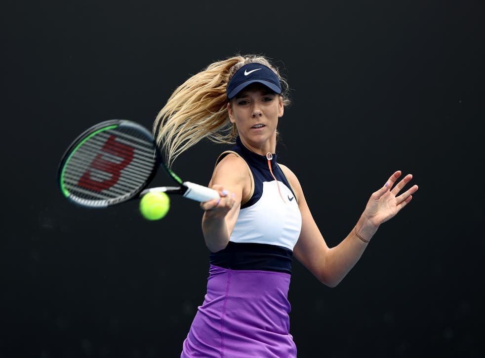 Katie Boulter received treatment during the match