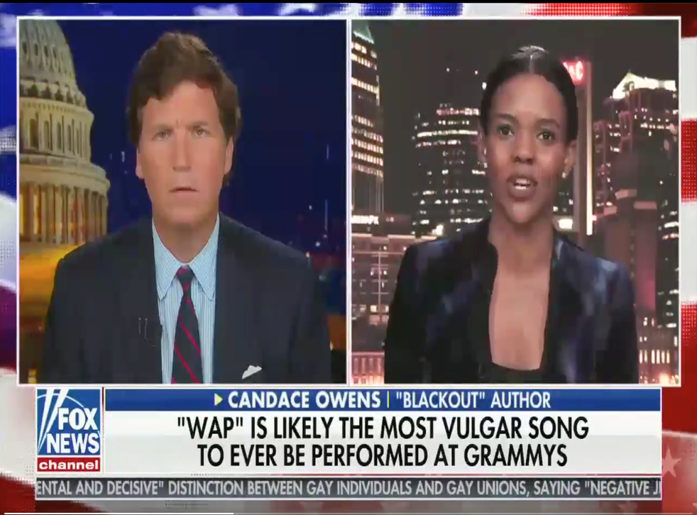 <p>Tucker Carlson and Candace Owens discussing their outrage at Cardi B and Meghan Thee Stallion's performance of WAP at the Grammys</p>