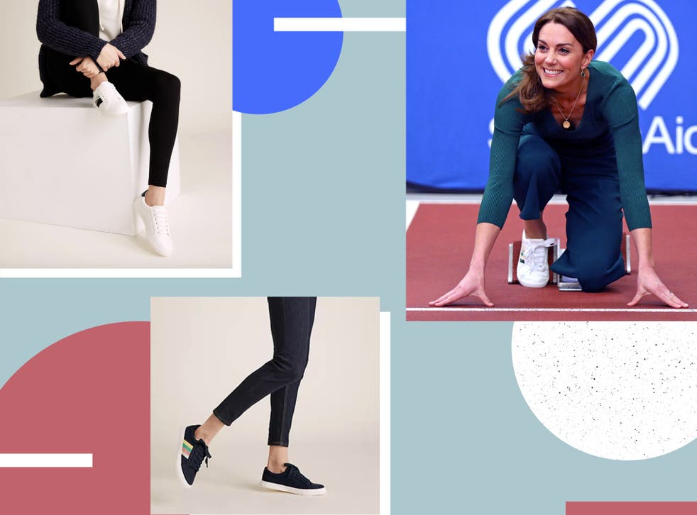 <p>The Duchess of Cambridge sported a similar pair last year, with rainbow stripes on a minimal-style trainer</p>