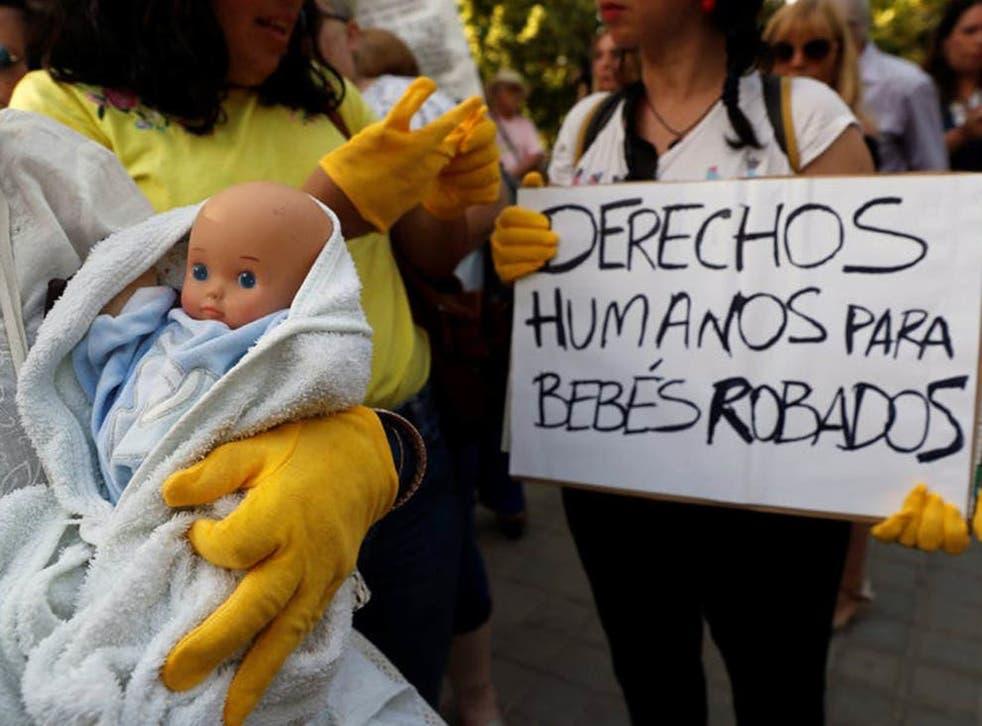 Protestors demanding justice for the stolen babies' scandal