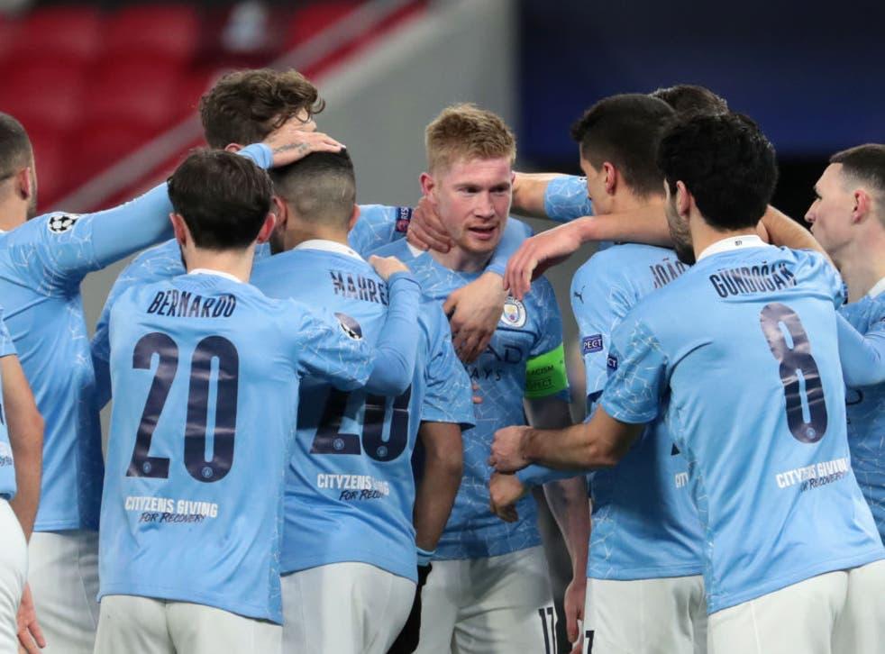 <p>Kevin De Bruyne celebrates giving Man City the lead</p>