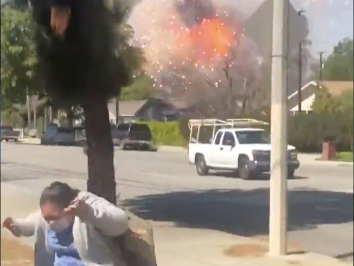 Video shows moment two killed in huge fireworks explosion in California