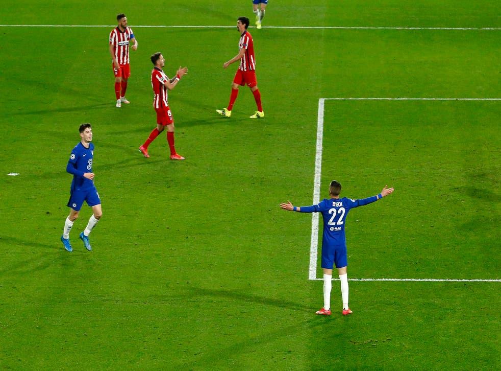 Hakim Ziyech celebrates after scoring Chelsea's winning goal