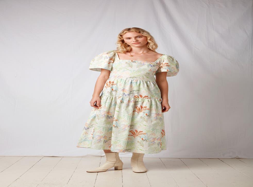 Omnes Daphne Tiered Midi Dress in Rainforest Print