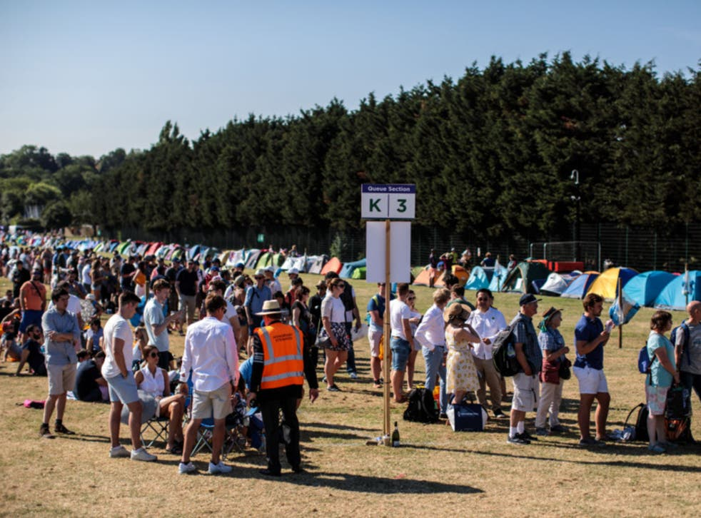 Fans at the public queuing zone in 2018