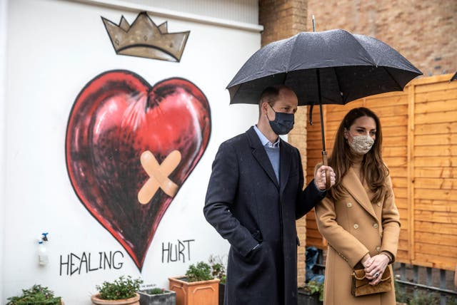 Prince William and Kate Middleton in east London on 18 March 2021