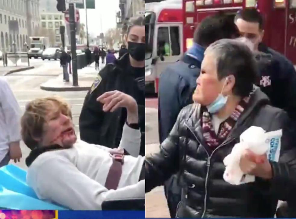 Menschen, die während der Pandemie gegen die Welle asiatischer Hassverbrechen protestieren.