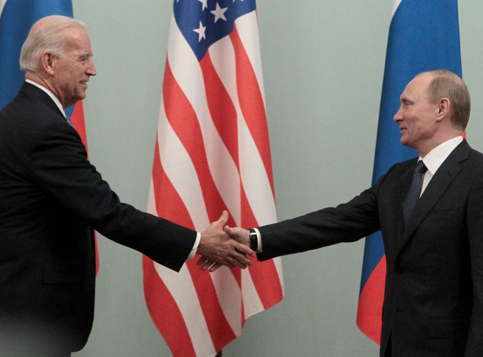 Putin and the then US vice president Joe Biden in Moscow in 2011