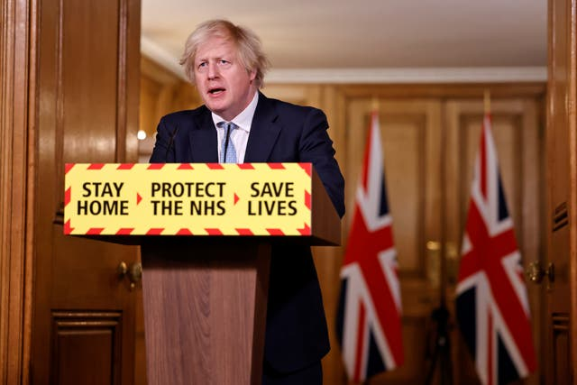<p>Boris Johnson, striding out to calm the gathering storm of untruth</p>