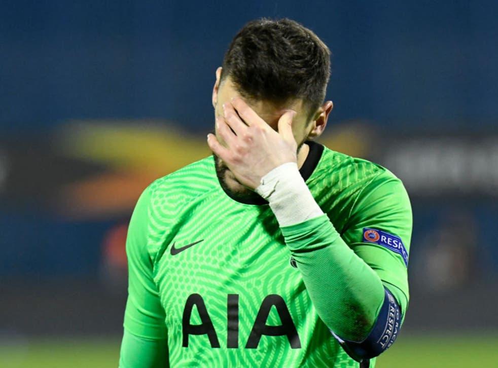 Hugo Lloris reacts to Tottenham's defeat