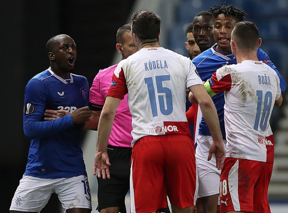 <p>Glen Kamara clashes with Ondrej Kudela</p>