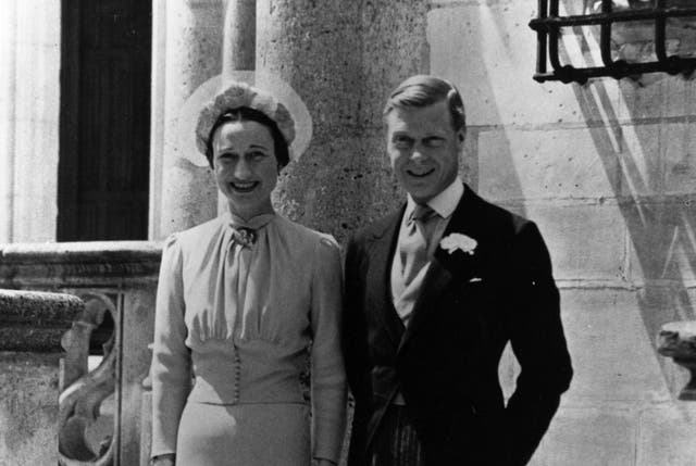 <p>Duke of Windsor and Mrs Wallis Simpson on their wedding day at Chateau de Conde, France.</p>