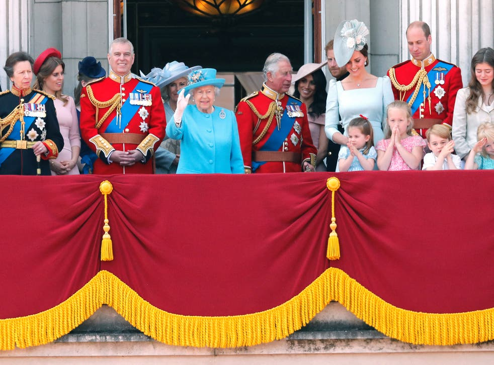 Royal family watches the Trooping of the Colour in 2018