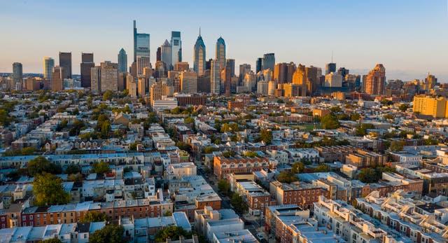 <p>Aerial view over the neighborhoods and streets of Philadelphia PA USA</p>