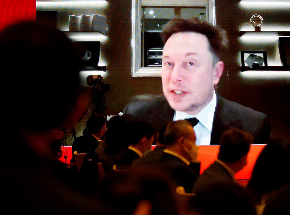 Tesla CEO Elon Musk attends via video link a session at the China Development Forum held in Beijing, China 20 March, 2021
