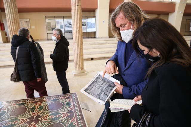<p>Architect and Italian marble expert Dario Del Bufalo attends the unveiling of the Caligula mosaic at the Museo delle Navi Romane (Museum of the Roman Ships) in Nemi, south of Rome</p>