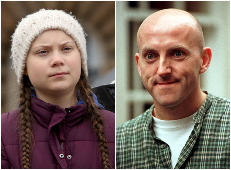 <p>Lee Hurst (right) was briefly suspended from Twitter for his lewd joke about Greta Thunberg</p>
