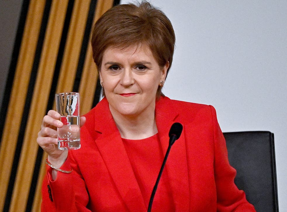 <p>Nicola Sturgeon takes a drink as she gives evidence to a committee earlier this month</p>