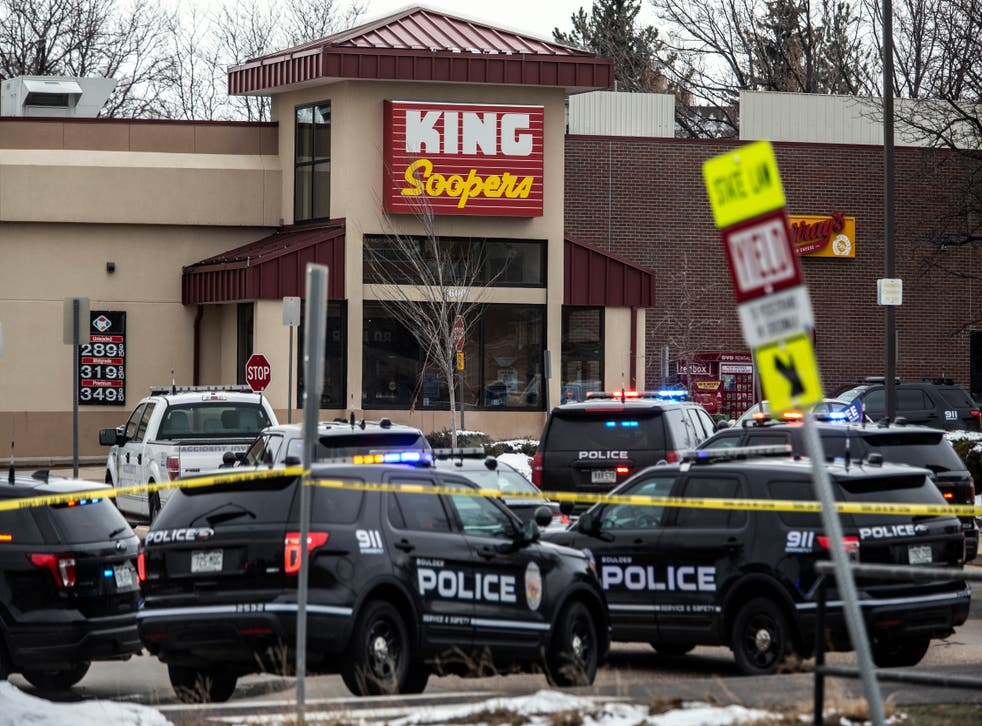 <p>Police respond at a King Sooper's grocery store where a gunman opened fire on March 22, 2021 in Boulder, Colorado</p>