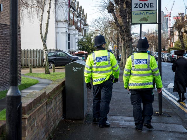 <p>Police are patrolling the Stamford Hill area after a pregnant woman was attacked on 18 March</p>