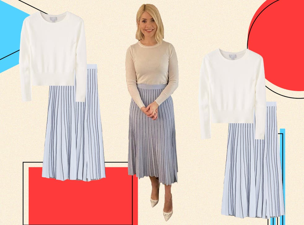 <p>Holly's turned to Spanish brand Mango for today's summery skirt</p>