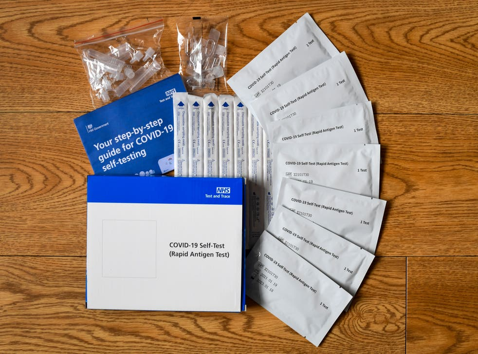 An NHS step-by-step Covid-19 Lateral Flow home test and trace kit