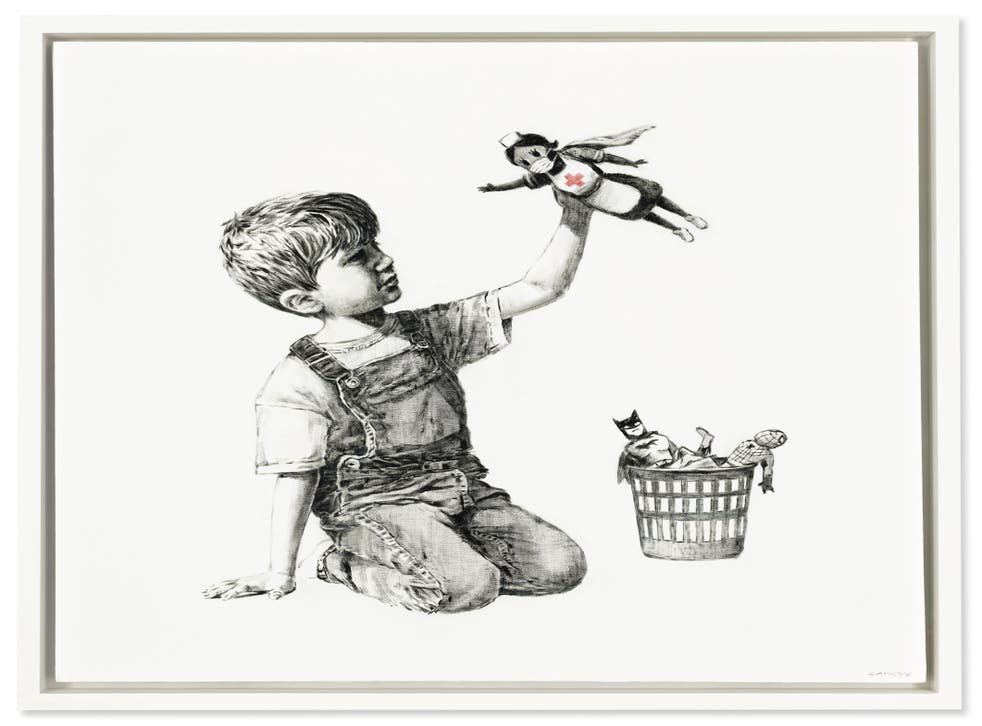 Undated handout image issued by Christie's of Banksy's Game Changer