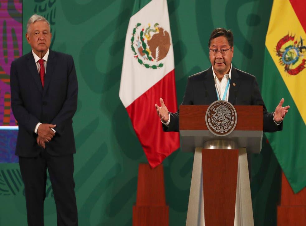 <p>El presidente boliviano Luis Arce habla durante la conferencia de prensa diaria de su homólogo mexicano Andrés Manuel López Obrador.</p>