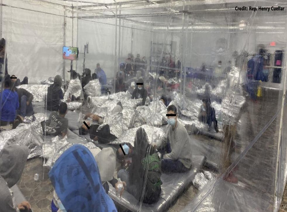 <p>Migrants in a Donna, Texas, detention centre are placed in pods after crossing the US-Mexico border</p>